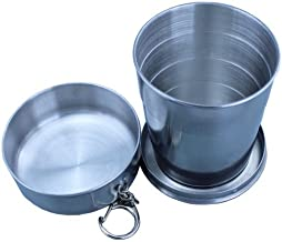 ieasycan Stainless Steel Portable Outdoor Travel Camping Folding Collapsible Cup Metal Telescopic Keychain 240ml