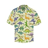 INTERESTPRINT Hawaiian Dinosaur Patter Short-Sleeve Shirt L