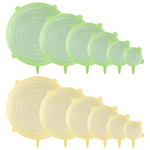 ShapeTree - DAS ORIGINAL | Premium Silikondeckel | 12 Stück Silikon Stretch Deckel dehnbar | BPA-frei | TÜV-geprüft | Wiederverwendbare Silikon Abdeckung für Schüsseln, Töpfe, Gläser, Dosen, Becher