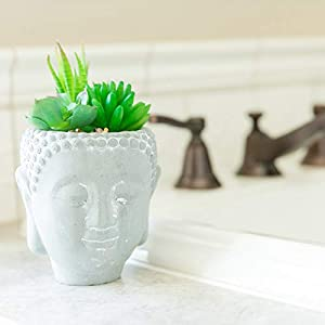 Silk Flower Arrangements MISC Artificial Plant Succulent in Cement Planter - One-Size Handmade