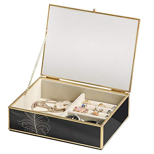 Jewelry organizer Caja de joyería de Joyería de Joyería de Lujo Negro Caja de joyería elegante Pavo Real Fronteriza Decoración de oro Anillo Anillo Anillo Pendientes Reloj Caja de almacenamiento Expos