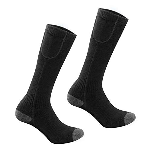 Modonghua 1pair Washable Electric Heated Socks,Men Women Battery Socks Rechargeable Electric Socks,Unisex Battery Powered Heat Insulated Socks,Black