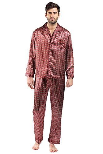 Herren Satin Bademantel Bademantel Kimono, Satin Pyjama Set Nachthemd - Schlafanzüge - rot, XL