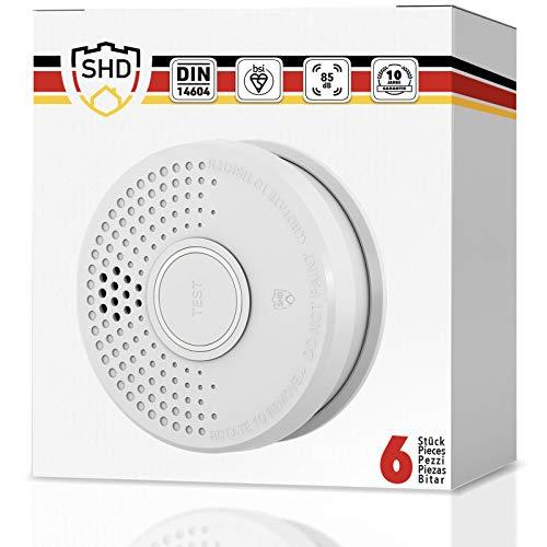 Rauchmelder 6er Set mit 10 Jahre Garantie inkl. 6X 9V Batterie geprüft nach DIN EN14604 und BSI Zertifiziert - 6 Stück Rauchwarnmelder Feuermelder Brandmelder Feueralarm