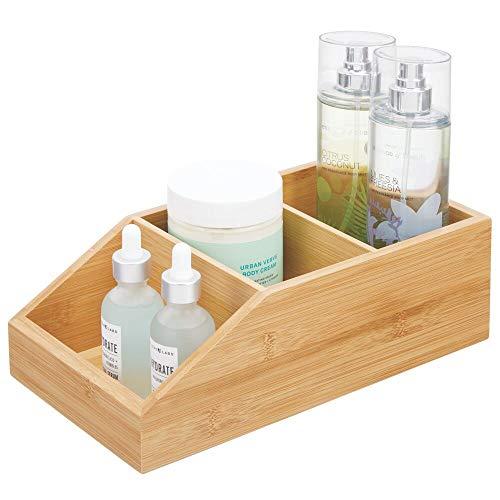 mDesign Caja organizadora con 3 compartimentos – Gran cajón de madera de bambú para cosméticos, maquillaje y otros accesorios de baño – Clasificador ecológico para baño, cocina, etc. – color natural