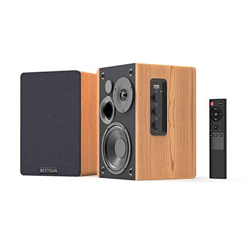 Bookshelf Speakers, BESTISAN 4inch Near Field Powered Bookshelf Speaker, 50W Wireless Bluetooth 5.0 Audio Speakers with Deep Bass, 2.0 Stereo Speakers, Wood Speakers, Remote Control