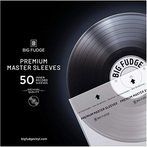 "Big Fudge Premium Master Vinyl Record Sleeves - 50x Record Inner Sleeves for 12"" Vinyl Record Storage. Clear 3-Layer LP Sleeves with Anti-Static Rice Paper. Acid Free, Archival Album Sleeves"