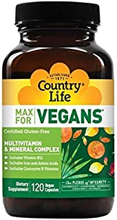 Country Life Max for Vegans - 120 Vegan Capsules - May Help Support Overall Health and Well-Being - Contains Vitamin B12, Iron, Amino Acids, and Coenzyme B Vitamins - Gluten-Free