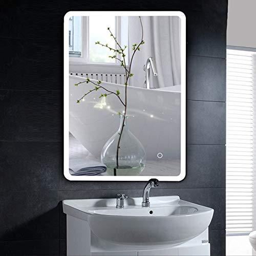 YIZHE Espejos de Aumento de Pared,Espejos para Afeitado,Espejo LED Deluxe,Espejo de baño con iluminación LED,Espejo de baño,Espejo LED Premium,Espejo de luz,Espejo con iluminación,60x80 cm