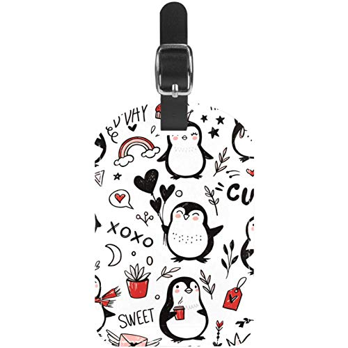 Luggage Tags Cute Penguin Leather Travel Suitcase Labels 1 Packs