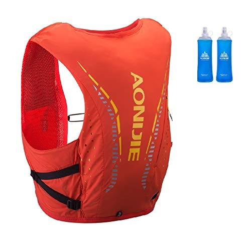 Mochila de hidratación Aonijie ligera y transpirable de 12 l para exteriores, Trail Marathoner Running Cycling Race Hydration Chaleco con vejiga de agua (rojo+2 x 450 ml, S/M)
