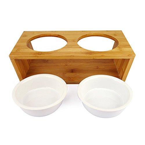 Comedero para perros y gatos de bambú de alta calidad con dos cuencos de cerámica