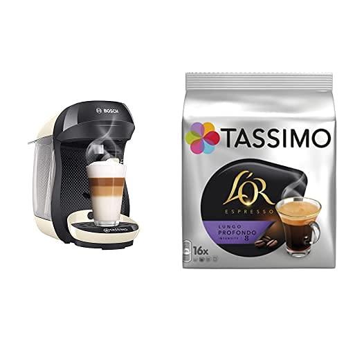 Bosch TAS1007 Tassimo Happy Cafetera de cápsulas, 1400 W, color vainilla y negro y TASSIMO L