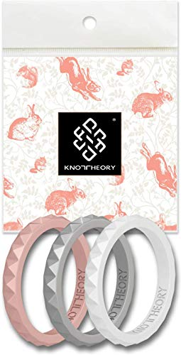 Knot Theory Bliss 3-Pack Thin Silicone Rings for Women - Rose Gold Silver White Slim Stackable Rubber Wedding Bands Set Size 6 - Mother Bride Promise Friendship Engagement Gift Rings Guard Stopper