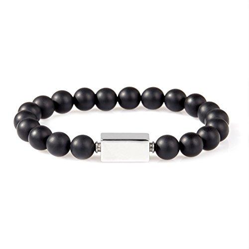 URBANSTYLES - Perlenarmband Schmuck - Armband Buddha Energiearmband Herren Universal - Shamballa 8 mm Naturstein Perlen Halbedelsteine - Rechteckige Logo-Perle - Schwarz ca. 18 cm Obsidian