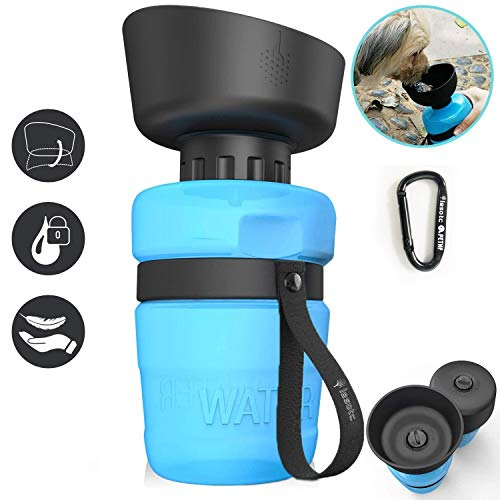 lesotc Hunde Trinkflasche für Unterwegs Haustier Travel Wasserflasche klappbare tragbare Reise Flasche Wasserspender 2in1 BPA-Frei 520ml für Camping, Spaziergang, Wandern, Training, Outdoor Blau