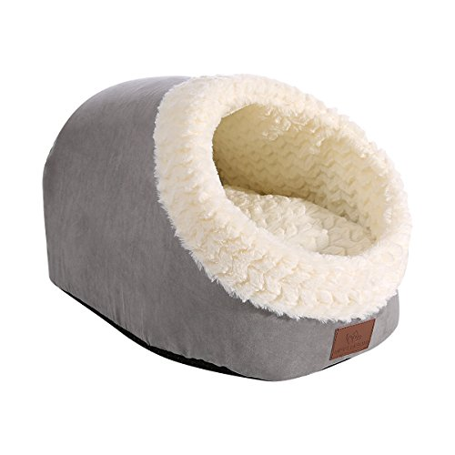 "Miss Meow Cat Bed Cave Shape Two Way Conversion Faux Suede 18""x14""x12""..."