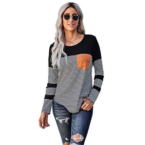 SLYZ 2021 Camiseta De Manga Larga De Primavera Y Otoño para Mujer Bolsillo De Costura A Rayas Blusa De Suéter De Punto Casual para Mujer