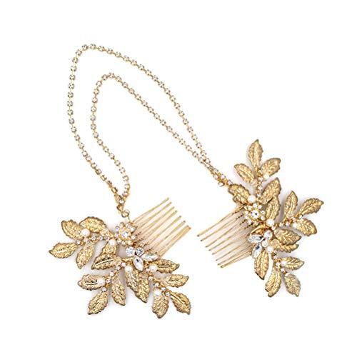 Lurrose Bridal Headband Golden Leaf Comb Chain Hair Band Headwear Wedding Dress Accessories (Gold)