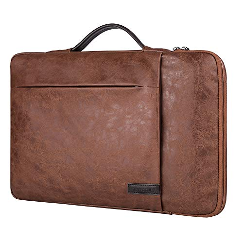 15.6 Inch Laptop Sleeve Case Computer Bag,360° Protective Leather Waterproof Laptop Shoulder Bag,Handbag for Most Popular 14'-15.6' Notebooks -Brown