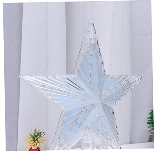 LAVALINK Christmas Tree Topper Xmas Glitter Star Tree Topper Silver Tree Topper for Christmas Tree Decorations