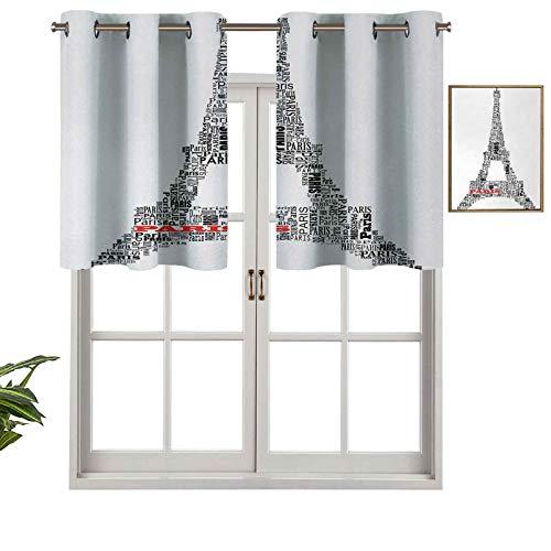 Cortinas opacas con aislamiento térmico con ojales cortos, ilustración del Tour Eiffel con palabras París, edificio histórico cultural francés, juego de 1, 127 x 45 cm para cocina y baño