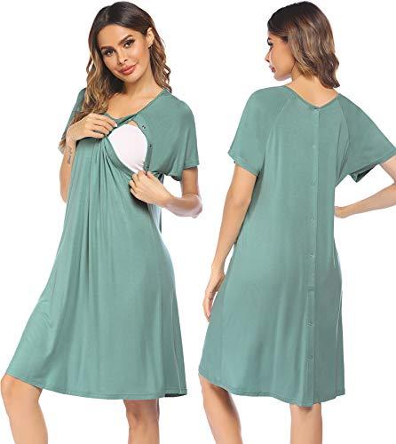 ADOME Camisón de maternidad para hospitales de enfermería, pijamas de lactancia materna, vestido de parto con botón, Verde Aqua, L