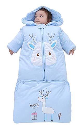 DZHTSWD Winter Winter Newborn Bebé Bebe de dormir con saco de dormir de manga larga desmontable, mantas para bebés usables con longitud ajustable, sillas de ruedas con sombrero a prueba de viento, 0-3