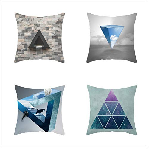 Set of 4 Pcs Throw Pillow Case Cushion Covers Three-Dimensional Triangle Velvet Soft Fiber Square Decor Throw Pillowcases for Living Room Sofa Car with Concealed Zip E3678 40x40cm/15.6x15.6in