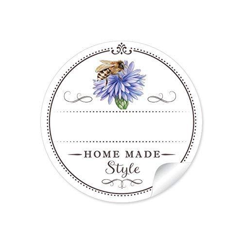 """48 STICKER:\""""Home Made Style\"""" 24 Schöne Honigetiketten für die Küche in weiß mit Biene auf Kornblume: mit Freitextfeld für die Honig Sorte (A4 Bogen) • Etiketten im Format 4 cm, rund, matt für Imker"""
