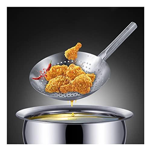 Cuchara ranurada de gran tamaño Colador de tamiz de alta calidad (una pieza de moldeo duradera) 304 acero inoxidable de acero inoxidable chef Skimming Submán de cucharón colador de cocina utensilios d