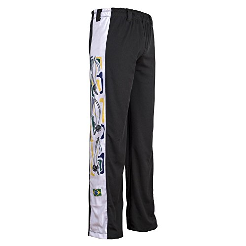 JL Sport Pantalon Authentique Brésilien Capoeira Arts Martiaux Garçon (Noir avec Berimbau Imprimer Le Long du Dos) - 11-12