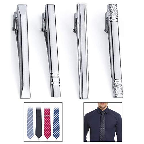 Xrten 4 Pcs Pasadores de Corbata pisacorbatas 6cm Clip Corbata para Hombre