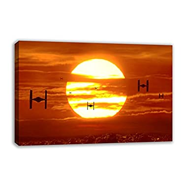"""TIE FIGHTERS SUNSET STAR WARS VII THE FORCE AWAKENS CANVAS WALL ART (30"""" X 18"""")"""
