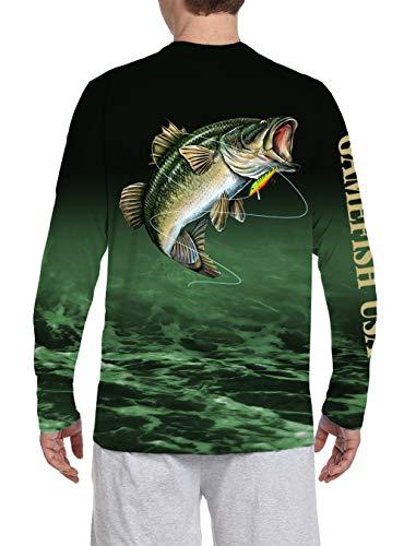 GAMEFISH USA UPF 50 Microfiber Moisture Wicking Long Sleeve Performance Fishing Shirt Bass (Large, Green)