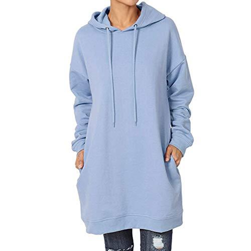 MIRRAY - Vestido largo con capucha para mujer, otoño e invierno, de manga larga, diseño de patchwork X2-azul cielo L
