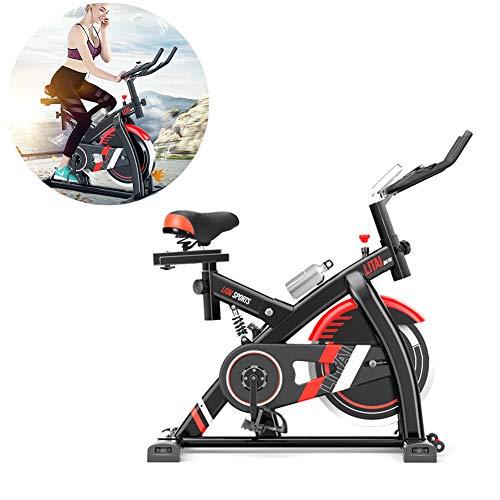 TXDWYF Bicicleta Estática, Transmisión por Correa, Volante de inercia 8kg, Bicleta de Gimnasio, Ejercicio Fitness, Bicicleta Estática con Sensores de Pulso de Mano, Monitor LCD, Adultos Unisex,Negro