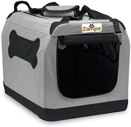 "Pet Portable Crate – Great for Travel, Home and Outdoor – for Dog's, Cat's and Puppies – Comes with A Carrying Case ((28"" x 20.5"" x 20.5""), Grey/Black)"