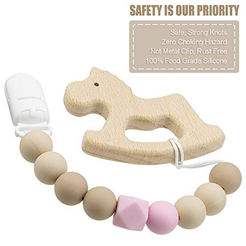 Pacifier Clip Baby Girls Binky Holder Soothie Paci Clip Silicone Bead Teething Relief Teether Toy Baby Birthday Christmas Shower Gift Set of 2 (Pink, Beige)