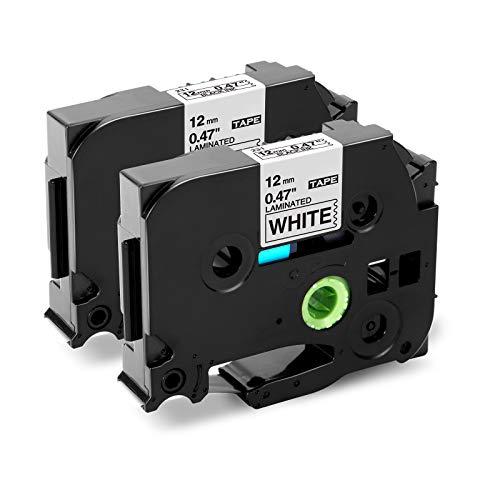 "Markurlife Compatible Label Tape Replacement for Brother Ptouch TZ TZe-231 TZ-231, 12mm 0.47"" Laminated Tape Black on White, Compatible with Label Maker PT-D200 PT-D210 PT-P400 PT-D600 PT-1750, 2-Pack"
