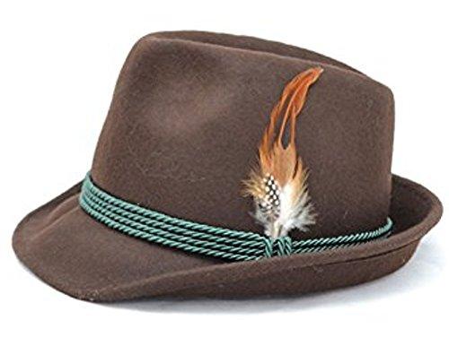 Bavariashop klederdracht-hoed Alois in trendy kleur met echte veer groen 100% wol