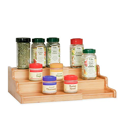 Seville Classics 3-Tier Expandable Bamboo Spice Rack Step Shelf Cabinet Organizer