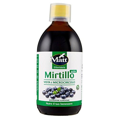 Matt&Die Fitosucco di Mirtillo Activ Migliora La Vista e Il Microcircolo, 500ml