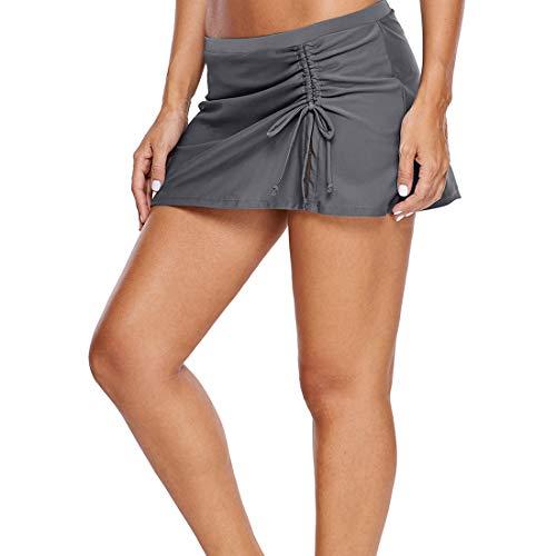 Gwell Baderock A línea con cordón, bañador para mujer, bañador, falda de bikini, pantalones cortos gris XL