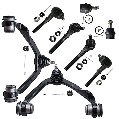 Detroit Axle - Complete 4x4 Upper Control Arm with Ball Joints Inner Outer Tie Rod End Front End Rebuild Kit for Ford F-150 F-250 Expedition - 8 pc Set