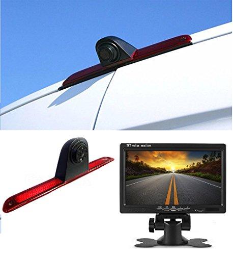 Cámara de marcha atrás HD 720p E-Mark(E9), tercer techo, luz de freno, cámara de estacionamiento, cámara de visión nocturna, pantalla TFT de 7 pulgadas, compatible con MB Sprinter W906 VW Crafter