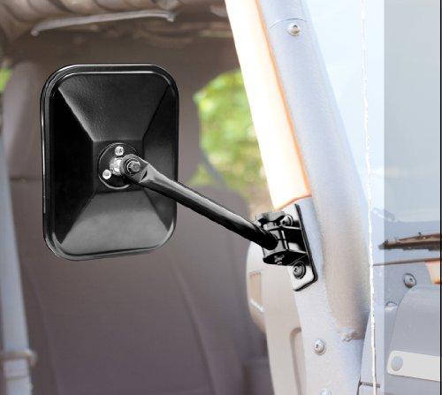 Rugged Ridge 11025.12 Quick Release Mirror, Rectangular Pair, Gloss Black; for 1997-2018 Jeep Wrangler TJ & JK