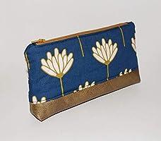 pochette à maquillage femme,tissu bleu marine, similicuir doré, fleurs, art déco