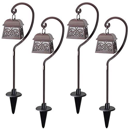 Maggift 22 Inch Hanging Solar Lights Multipurpose Shepherd Hook Lights with 4 Shepherd Hooks Outdoor Solar Coach Lights (4 Pack)
