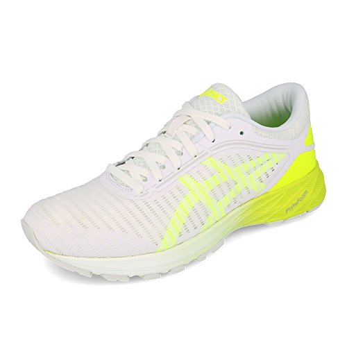 Asics Dynaflyte 2, Zapatillas de Running Mujer, Blanco (White/Safety Yellow/Aruba Blue 0107), 41.5 EU